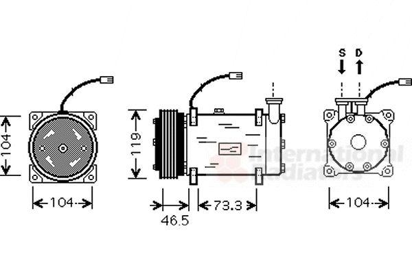 Compresseur, climatisation - VAN WEZEL - 0900K030