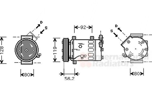 Compresseur, climatisation - VAN WEZEL - 0900K032