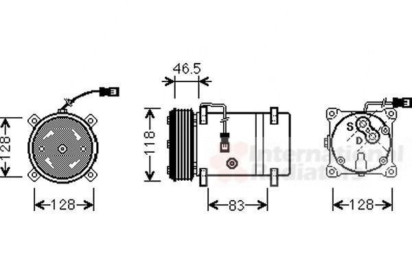 Compresseur, climatisation - VAN WEZEL - 0900K158