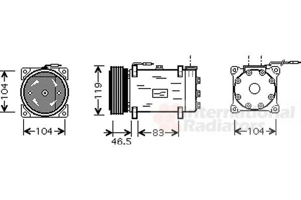 Compresseur, climatisation - VAN WEZEL - 0900K160
