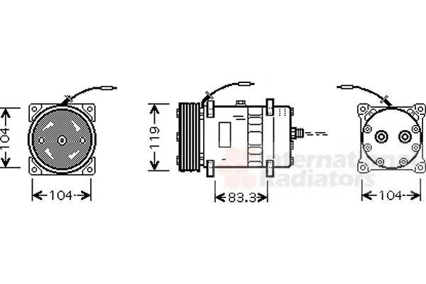 Compresseur, climatisation - VAN WEZEL - 0900K176
