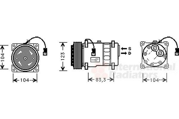 Compresseur, climatisation - VAN WEZEL - 0900K177
