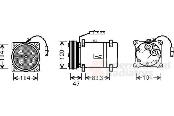 Compresseur, climatisation - VAN WEZEL - 0900K178