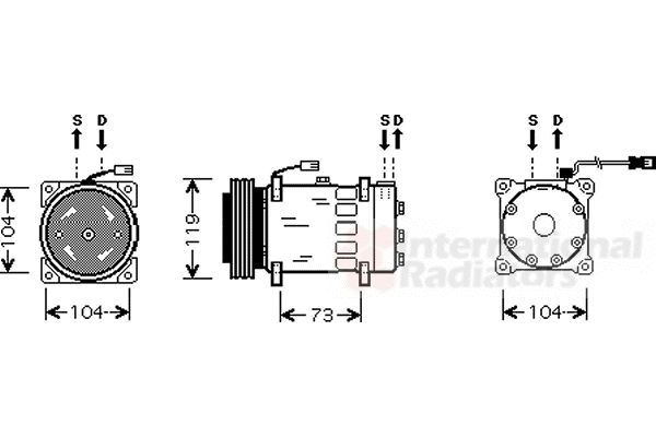 Compresseur, climatisation - VAN WEZEL - 0900K180