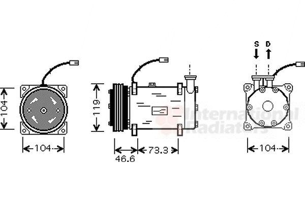 Compresseur, climatisation - VAN WEZEL - 0900K215