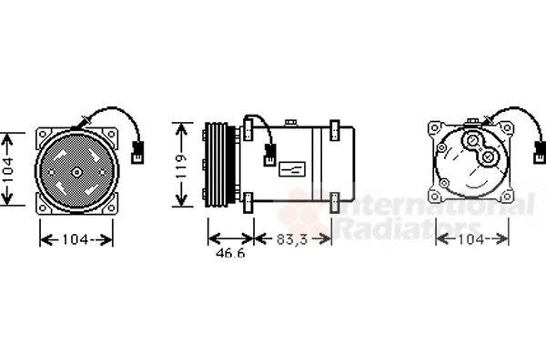 Compresseur, climatisation - VAN WEZEL - 0900K216