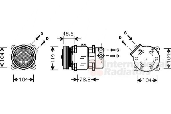 Compresseur, climatisation - VAN WEZEL - 0900K218