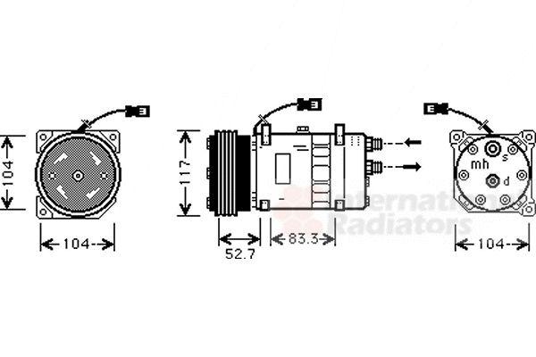 Compresseur, climatisation - VAN WEZEL - 0900K222