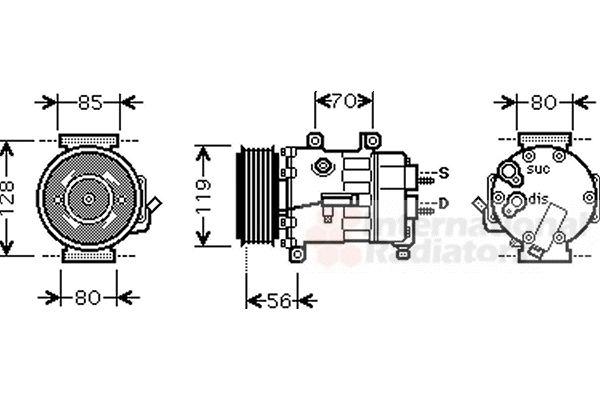Compresseur, climatisation - VAN WEZEL - 0900K250
