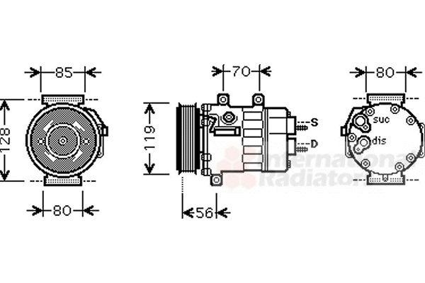 Compresseur, climatisation - VAN WEZEL - 0900K254