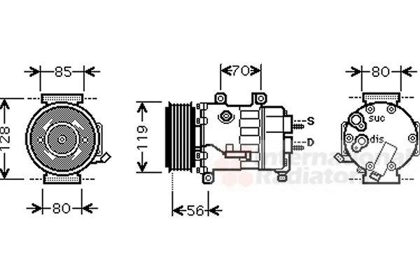 Compresseur, climatisation - VAN WEZEL - 0900K256