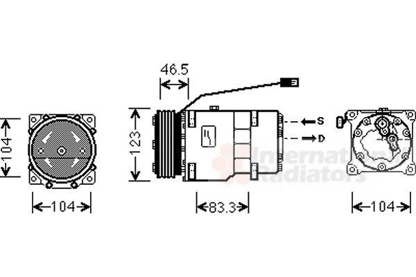 Compresseur, climatisation - VAN WEZEL - 0900K257