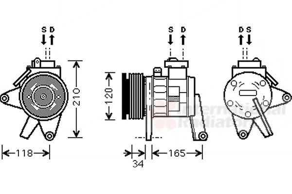Compresseur, climatisation - VAN WEZEL - 0700K063