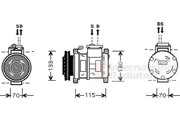 Compresseur, climatisation - VAN WEZEL - 0700K064