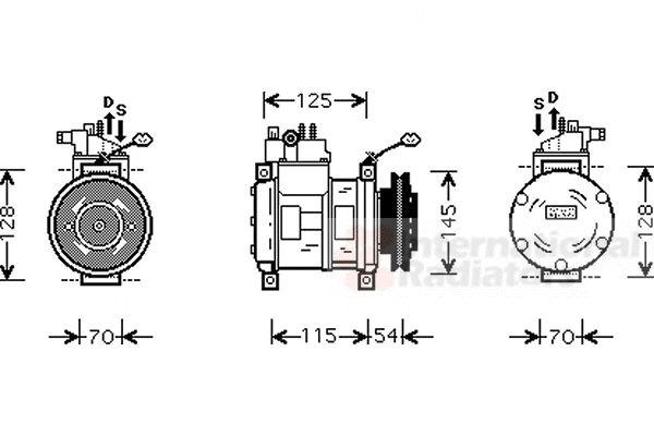 Compresseur, climatisation - VAN WEZEL - 0700K074