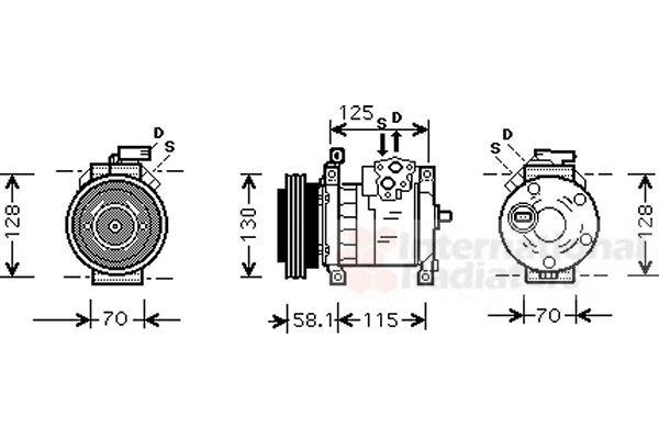 Compresseur, climatisation - VAN WEZEL - 0700K094