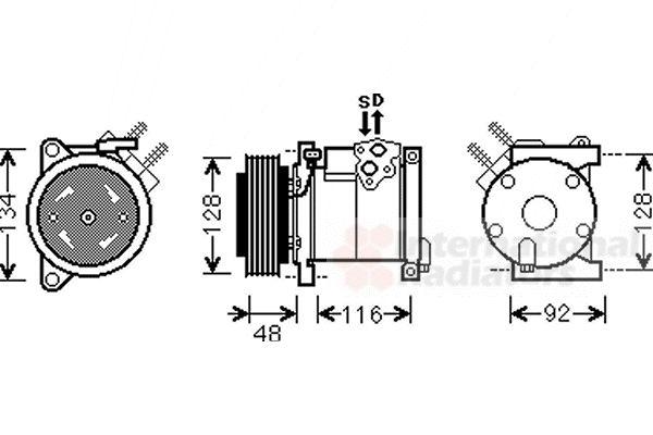 Compresseur, climatisation - VAN WEZEL - 0700K102