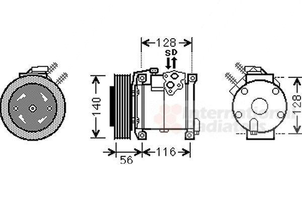 Compresseur, climatisation - VAN WEZEL - 0700K108
