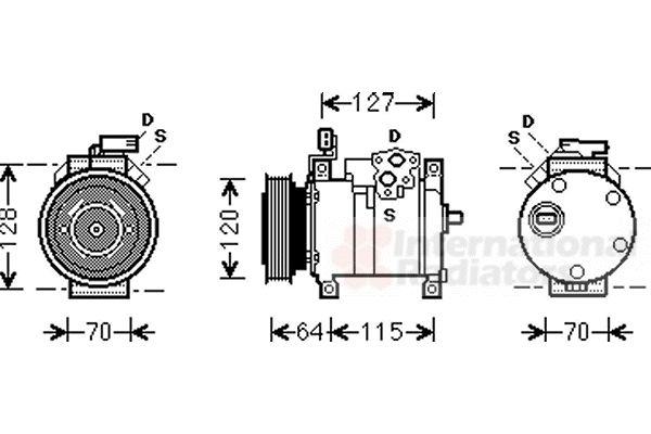 Compresseur, climatisation - VAN WEZEL - 0700K115