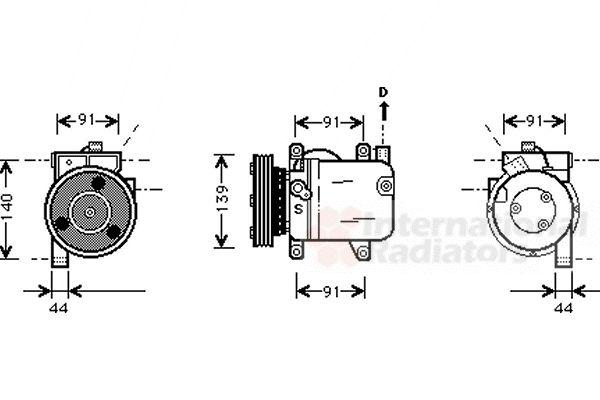 Compresseur, climatisation - VAN WEZEL - 1300K001