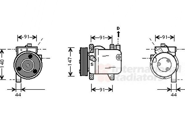 Compresseur, climatisation - VAN WEZEL - 1300K002