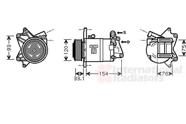 Compresseur, climatisation - VAN WEZEL - 1300K321