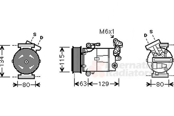 Compresseur, climatisation - VAN WEZEL - 1300K334