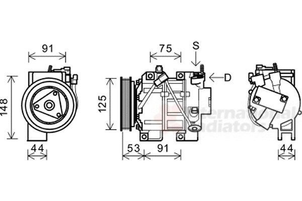 Compresseur, climatisation - VAN WEZEL - 1300K335