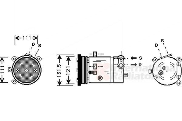 Compresseur, climatisation - VAN WEZEL - 8100K038