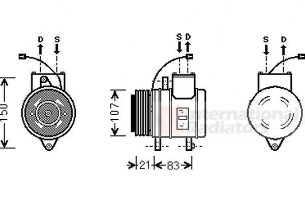 Compresseur, climatisation - VAN WEZEL - 8100K041