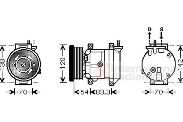 Compresseur, climatisation - VAN WEZEL - 8100K071