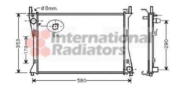 Radiateur, refroidissement du moteur - VAN WEZEL - 18002400