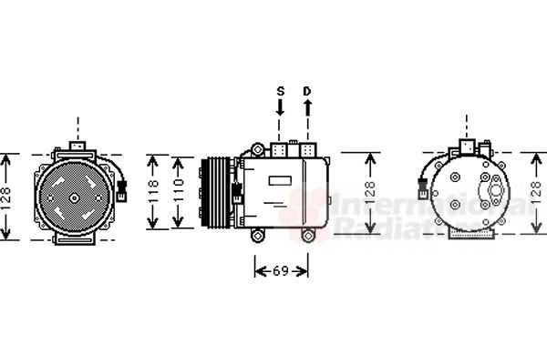 Compresseur, climatisation - VAN WEZEL - 1800K045