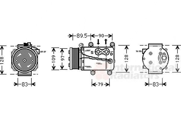 Compresseur, climatisation - VAN WEZEL - 1800K082