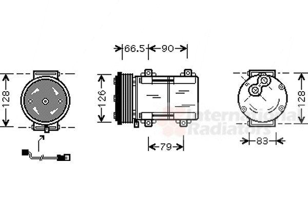 Compresseur, climatisation - VAN WEZEL - 1800K276