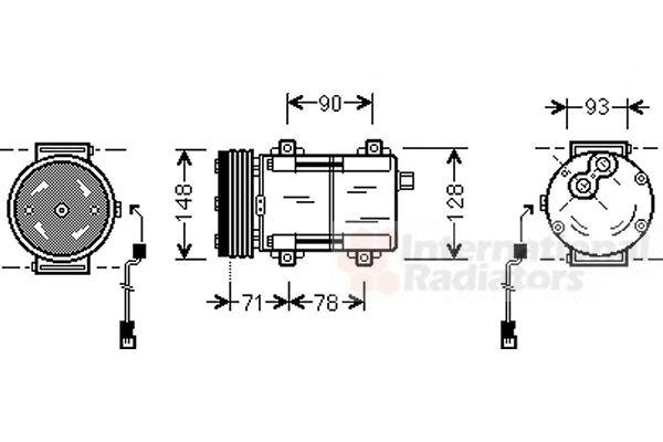 Compresseur, climatisation - VAN WEZEL - 1800K277