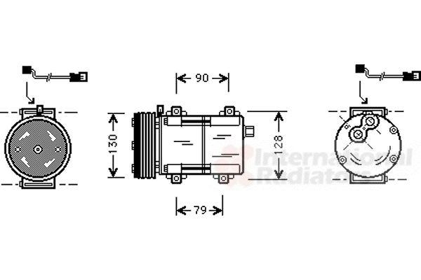Compresseur, climatisation - VAN WEZEL - 1800K282