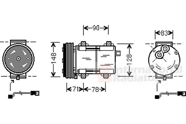 Compresseur, climatisation - VAN WEZEL - 1800K283