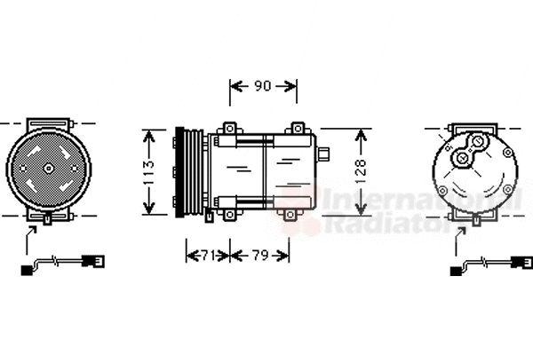 Compresseur, climatisation - VAN WEZEL - 1800K284