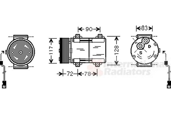 Compresseur, climatisation - VAN WEZEL - 1800K285