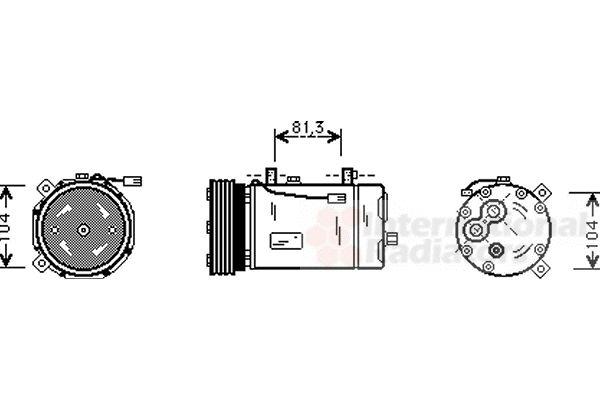 Compresseur, climatisation - VAN WEZEL - 1800K306