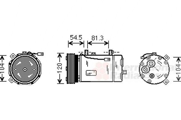 Compresseur, climatisation - VAN WEZEL - 1800K307