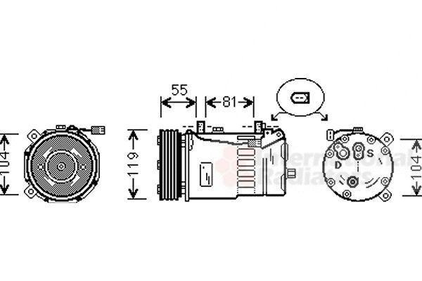 Compresseur, climatisation - VAN WEZEL - 1800K321