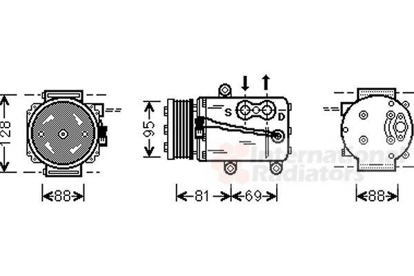 Compresseur, climatisation - VAN WEZEL - 1800K339