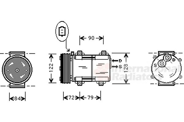 Compresseur, climatisation - VAN WEZEL - 1800K351