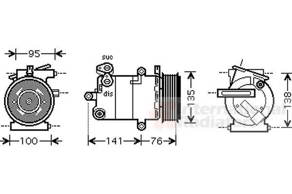 Compresseur, climatisation - VAN WEZEL - 1800K417