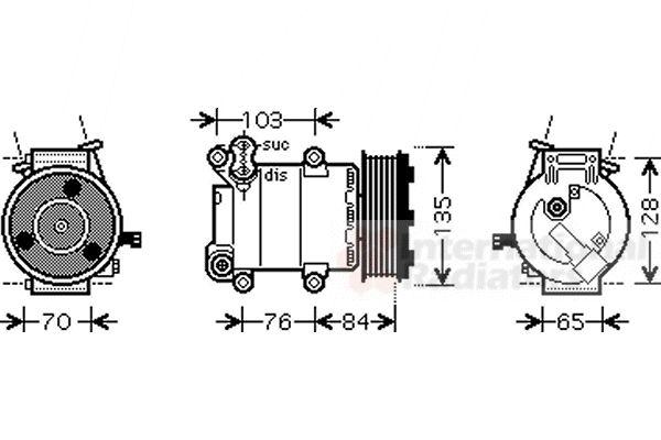 Compresseur, climatisation - VAN WEZEL - 1800K418