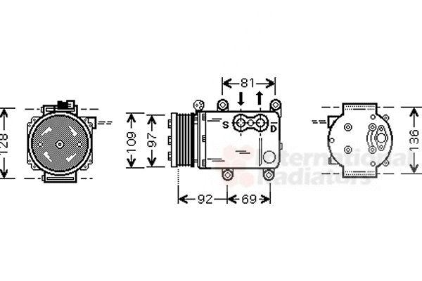 Compresseur, climatisation - VAN WEZEL - 1800K419
