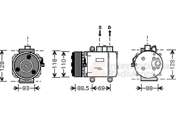 Compresseur, climatisation - VAN WEZEL - 1800K420