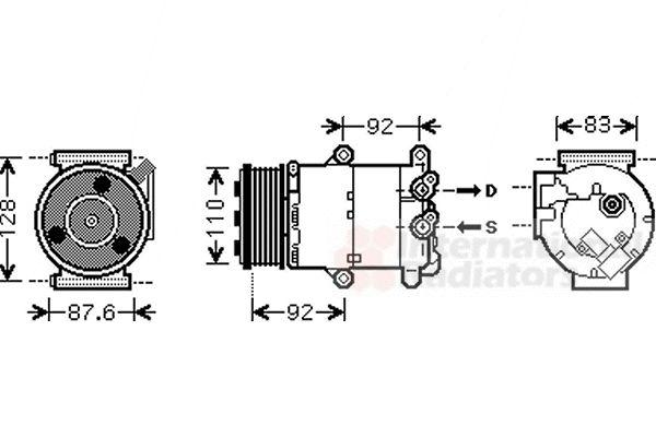 Compresseur, climatisation - VAN WEZEL - 1800K430